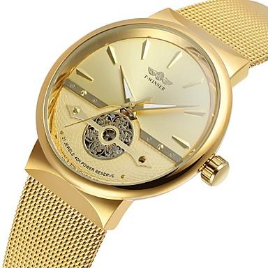 Недорогие Часы на металлическом ремешке-WINNER Муж. Наручные часы С автоподзаводом Классика С гравировкой Нержавеющая сталь Золотистый Аналоговый - Золотой