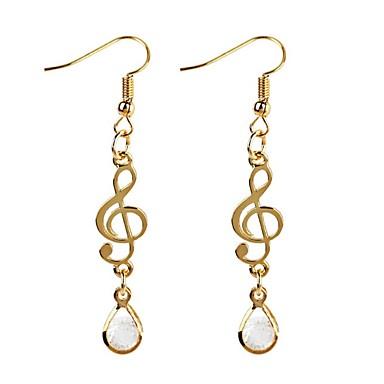 povoljno Naušnice-Žene Kubični Zirconia Viseće naušnice Long Glazba Glazbena nota dame Klasik Moda Zircon Naušnice Jewelry Zlato Za Dnevno