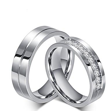 olcso Ring Set-Férfi Női Eljegyzési gyűrű Gyűrűk készlet Kocka cirkónia Titán Kocka cirkónia Titanium Acél Klasszikus Esküvő Party / estély Ékszerek Hercegnő