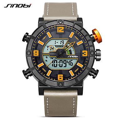 Недорогие Часы на кожаном ремешке-SINOBI Муж. Спортивные часы электронные часы Кварцевый На каждый день Календарь Аналого-цифровые Оранжевый / черный / Два года / Кожа / Японский / Ударопрочный / Хронометр
