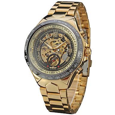 adf2c99bb08 WINNER Homens Relógio Esqueleto Relógio de Pulso Automático - da corda  automáticamente Aço Inoxidável Preta   Dourada 30 m Gravação Oca Legal  Analógico ...