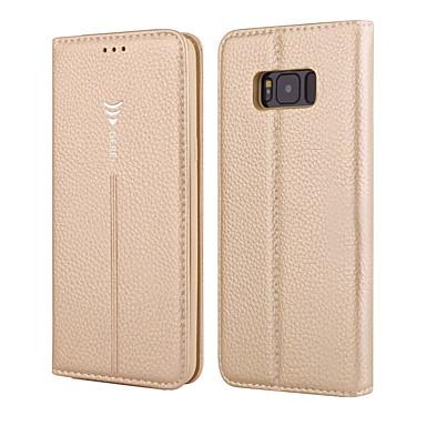 Недорогие Чехлы и кейсы для Galaxy S-Кейс для Назначение SSamsung Galaxy S8 Plus / S8 / S7 edge Кошелек / Бумажник для карт / Флип Чехол Однотонный Твердый Настоящая кожа