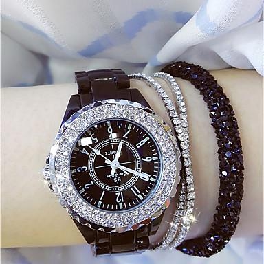 povoljno Ženski satovi-Žene dame Ručni satovi s mehanizmom za navijanje Diamond Watch zamotajte sat Japanski Kvarc Keramika Crna / Bijela 30 m Casual sat Analog Šarm Bling Bling - Obala Crn / Nehrđajući čelik