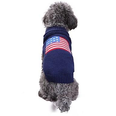 رخيصةأون ملابس وإكسسوارات الكلاب-قط كلب ازياء تنكرية المعاطف البلوزات الشتاء ملابس الكلاب أزرق كوستيوم سباندكس الكتان والقطن المزيج Chinlon علم الأمريكية / الولايات المتحدة الأمريكية كاجوال / يومي الدفء الزفاف XXS XS S M L XL