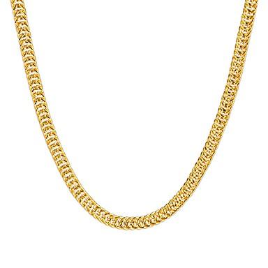 Недорогие Ожерелья-Жен. Ожерелья-цепочки Струнные ожерелья Цепь Foxtail Хип-хоп Медь Позолота Металл Золотой Ожерелье Бижутерия Назначение Для вечеринок Повседневные