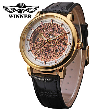 16e8765b9265 WINNER Hombre Reloj de Pulsera   El reloj mecánico Huecograbado Piel Banda  Lujo   Vintage Negro   Cuerda Manual 6387080 2019 – €22.99
