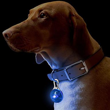 olcso Kutya Nyakörvek, hámok és pórázok-Cica Kutya Gallérok Címkék LED fények Biztonság Egyszínű Műanyag Zöld Kék Rózsaszín