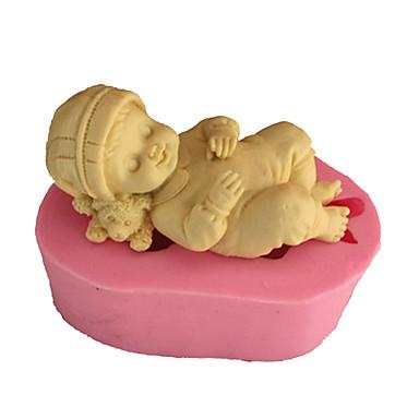 tanie Przybory i gadżety do pieczenia-3d śpiące dziecko mydło formy kremówki formy ciasto dekoracji formy