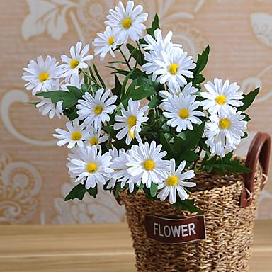 زهور اصطناعية 1 فرع النمط الرعوي الإقحوانات أزهار الطاولة