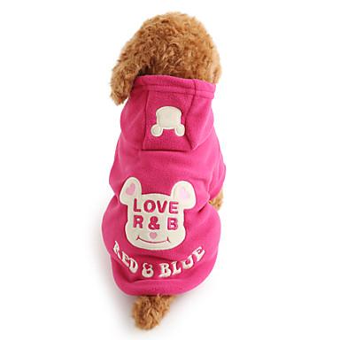 Câine Hanorace cu Glugă Iarnă Îmbrăcăminte Câini Negru Trandafiriu Costume Lână polară Desene Animate Keep Warm XS S M L