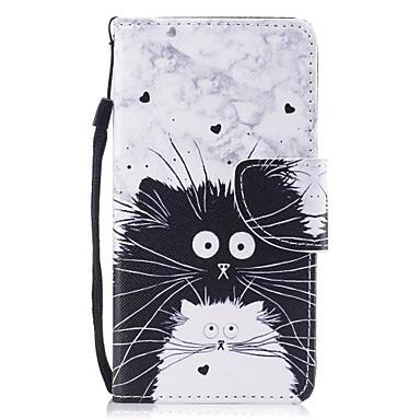 رخيصةأون أغطية أيفون-غطاء من أجل Apple iPhone X / iPhone 8 Plus / iPhone 8 محفظة / حامل البطاقات / مع حامل غطاء كامل للجسم قطة قاسي جلد PU