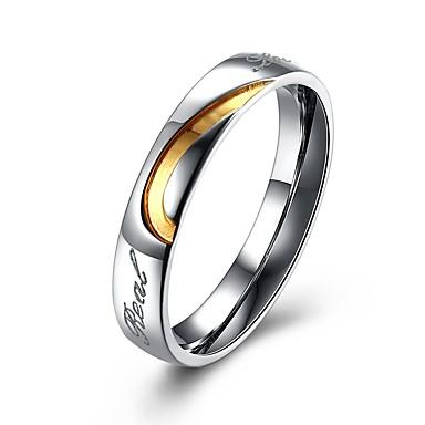 رخيصةأون خواتم-رجالي خواتم الزوجين حلقات الأخدود 2 أبيض الصلب التيتانيوم مطلية بالذهب Circle Shape موضة هدية مجوهرات