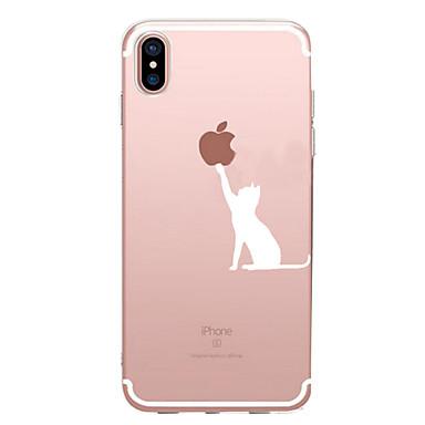 Недорогие Кейсы для iPhone X-Кейс для Назначение Apple iPhone X / iPhone 8 Pluss / iPhone 8 С узором Кейс на заднюю панель Композиция с логотипом Apple Мягкий ТПУ