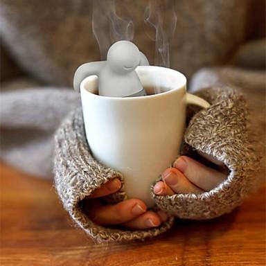 olcso Teázás kellékek-1db aranyos mr.tea táska teáskanna szilikon tea levél szűrő infuser táska teáskannát szűrő drinkware kis ember alakja