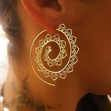 cheap Women's Jewelry-Women's Hoop Earrings filigree Wave Ladies Elegant Vintage everyday Earrings Jewelry Gold / Silver For Christmas Wedding Party Gift Stage Club