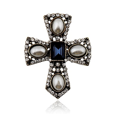 cheap Brooches-Women's Brooches Cross Ladies Simple Elegant Rhinestone Brooch Jewelry Silver For Daily Casual