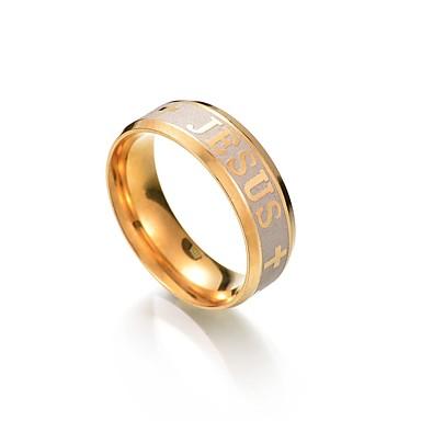 رخيصةأون خواتم-رجالي عصابة الفرقة 1 ذهبي الفولاذ المقاوم للصدأ معدن Circle Shape مناسب للحفلات تخرج مجوهرات