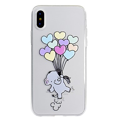 voordelige iPhone 6 hoesjes-hoesje Voor Apple iPhone X / iPhone 8 Plus / iPhone 8 Patroon Achterkant dier / Olifant Zacht TPU