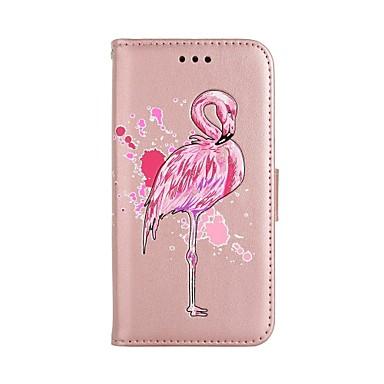Недорогие Чехлы и кейсы для Galaxy S6 Edge-Кейс для Назначение SSamsung Galaxy S8 Plus / S8 / S7 edge Кошелек / Бумажник для карт / со стендом Чехол Фламинго / Сияние и блеск Твердый Кожа PU