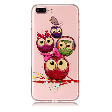 voordelige iPhone 6 Plus hoesjes-hoesje Voor Apple iPhone X / iPhone 8 Plus / iPhone 8 Transparant / Patroon Achterkant dier / Uil Zacht TPU