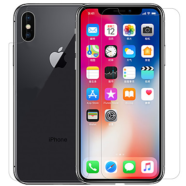 voordelige iPhone X screenprotectors-AppleScreen ProtectoriPhone X High-Definition (HD) Voorkant- & achterkantbescherming 1 stuks PET
