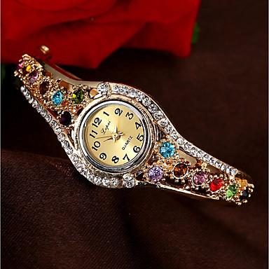 76a9f9496a3 Mulheres Relógio de Moda Bracele Relógio Simulado Diamante Relógio Quartzo  Dourada Impermeável Cronógrafo Relógio Casual Analógico Rígida Colorido  Natal ...