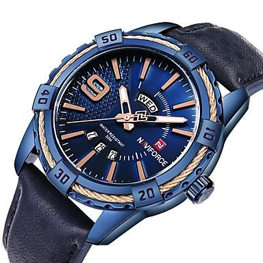 15922564a47 NAVIFORCE Homens Relógio Militar Relógio de Pulso Japanês Quartzo Couro  Legitimo Preta   Azul   Marrom 30 m Impermeável Cronógrafo Luminoso  Analógico Luxo ...