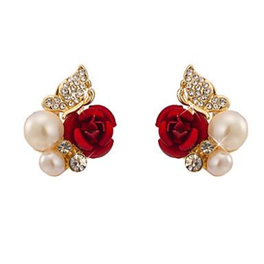 رخيصةأون أقراط-نسائي أقراط الزر وردة سيدات لؤلؤ تقليدي تقليد الماس الأقراط مجوهرات أحمر من أجل مناسب للبس اليومي مناسب للخارج