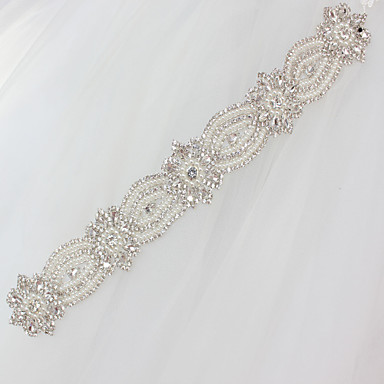 cheap Party Sashes-Satin / Tulle Wedding / Special Occasion Sash With Rhinestone / Imitation Pearl / Appliques Sashes