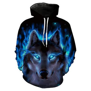 رجالي قياس كبير بنطلون - 3D / حيوان ذئب, طباعة أزرق / مع قبعة / كم طويل / الربيع / الشتاء
