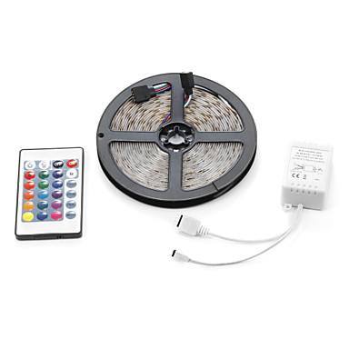 5m lumini seturi led 3528 smd 8mm rgb telecomandă / rc / cuttable / dimmable 12 v / ip65 / impermeabil / conectabil / autoadeziv / schimbător de culori
