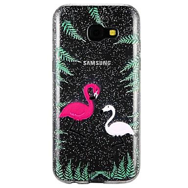 رخيصةأون حافظات / جرابات هواتف جالكسي A-غطاء من أجل Samsung Galaxy A3 (2017) / A5 (2017) / A7 (2017) شبه شفّاف / مطرز / نموذج غطاء خلفي حيوان / كارتون / بريق لماع ناعم TPU