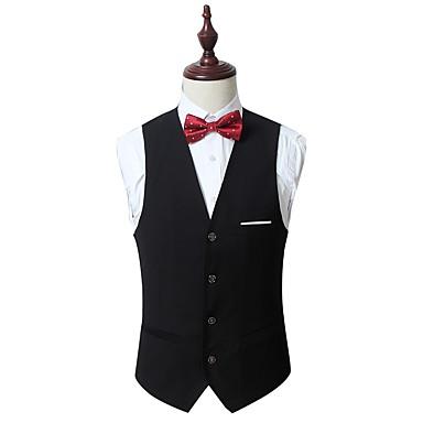 رخيصةأون سترات و بدلات الرجال-رجالي أسود رمادي نبيذ XXXXL 5XL 6XL Vest لون سادة V رقبة نحيل / بدون كم / الربيع / الخريف / عمل / رسمي