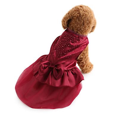 رخيصةأون ملابس وإكسسوارات الكلاب-كلب الفساتين ملابس الكلاب أحمر أزرق كوستيوم Bichon فرايز أفطس بكيني تيريليني لون سادة ترتر عطلة الزفاف موضة XS S M L XL