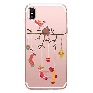 Недорогие Кейсы для iPhone X-Кейс для Назначение Apple iPhone X / iPhone 8 Pluss / iPhone 8 Прозрачный / С узором Кейс на заднюю панель Рождество Мягкий ТПУ
