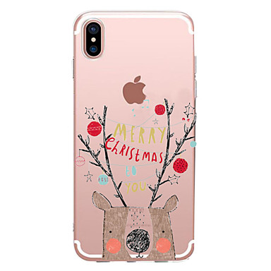 voordelige iPhone-hoesjes-hoesje Voor Apple iPhone X / iPhone 8 Plus / iPhone 8 Transparant / Patroon Achterkant Woord / tekst / Cartoon / Kerstmis Zacht TPU