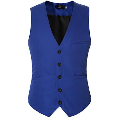 رخيصةأون سترات و بدلات الرجال-رجالي مناسب للبس اليومي الربيع / الخريف عادية Vest, لون سادة V رقبة بدون كم بوليستر أسود / نبيذ / أزرق فاتح / رسمي / نحيل