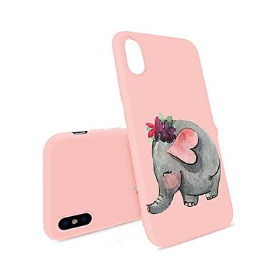 voordelige iPhone 8 hoesjes-hoesje Voor Apple iPhone X / iPhone 8 Plus / iPhone 8 Patroon Achterkant Cartoon / Olifant Zacht TPU