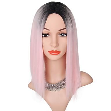 Peruki Syntetyczne Damskie Kinky Straight Różowy Fryzura Bob Włosie