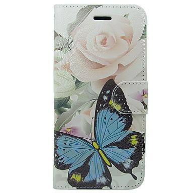 Недорогие Кейсы для iPhone 5с-Кейс для Назначение Apple iPhone X / iPhone 8 Pluss / iPhone 8 Кошелек / Бумажник для карт / со стендом Чехол Бабочка / Цветы Мягкий Кожа PU