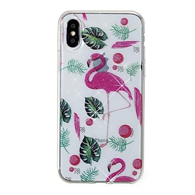 voordelige iPhone X hoesjes-hoesje Voor Apple iPhone X / iPhone 8 Plus / iPhone 8 IMD / Patroon Achterkant Flamingo / dier / Glitterglans Zacht TPU