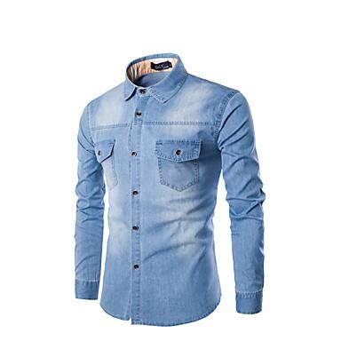 رخيصةأون قمصان رجالي-رجالي قطن قميص, لون سادة نحيل / كم طويل