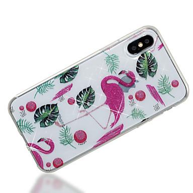 voordelige iPhone-hoesjes-hoesje Voor Apple iPhone X / iPhone 8 Plus / iPhone 8 IMD / Patroon Achterkant Flamingo / dier / Glitterglans Zacht TPU