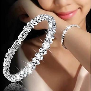 ieftine Brățări de Tenis-Pentru femei Zirconiu Cubic diamant mic Brățări cu Lanț & Legături Bratari de tenis Lantul de tenis Plin de graţie femei Corean Modă de Mireasă Aliaj Bijuterii brățară Argintiu Pentru Nuntă Cadou