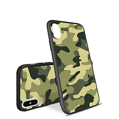baratos Capinhas para iPhone7-Capinha Para Apple iPhone X / iPhone 8 Plus / iPhone 8 Estampada Capa traseira Sólido / Côr Camuflagem Macia TPU
