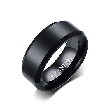 levne Široké prsteny-Pánské Band Ring Černá Titanová ocel Volframová ocel Circle Shape Jednoduchý Punk Módní Denní Formální Šperky Klasický styl Základní Svatba