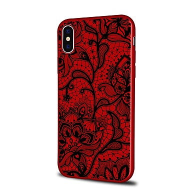 voordelige iPhone 6 hoesjes-hoesje Voor Apple iPhone X / iPhone 8 Plus / iPhone 8 Patroon Achterkant Cartoon / Lace Printing / Bloem Zacht TPU