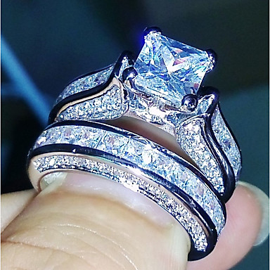ieftine Inele-Pentru femei Band Ring Eternity Ring Diamant Zirconiu Cubic 2 Argintiu Articole de ceramică Geometric Shape Montaj de Patru femei Casual Modă Nuntă Cadou Bijuterii Solitaire
