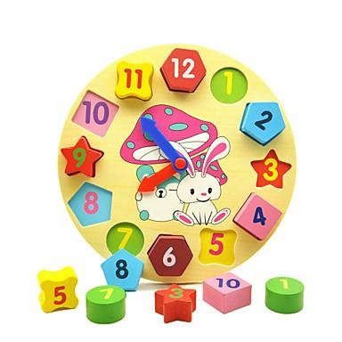 olcso Kid tabletta-Fa óra játék Idő tanítási óra Fejlesztő játék fa Oktatás Geometrijski oblici Gyermek Fiú Lány Játékok Ajándék