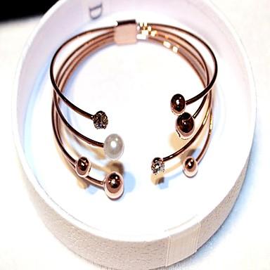 cheap Pearl Bracelets-Women's Cubic Zirconia Bracelet Bangles Cuff Bracelet Geometrical Stacking Stackable Ball Ladies Vintage Korean Fashion Imitation Pearl Bracelet Jewelry Gold For Party Gift
